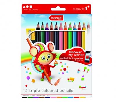 مداد رنگی سه گوش 12 رنگ برونزیل طرح جدید- 3305K13B