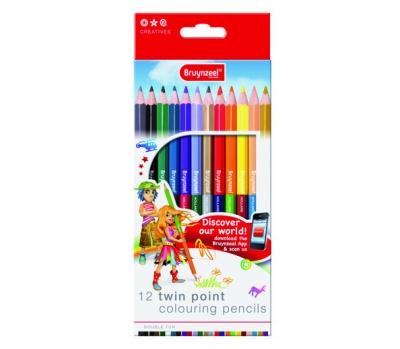 مداد رنگی 12 رنگ دو سر برونزیل طرح جدید- 7570K12B