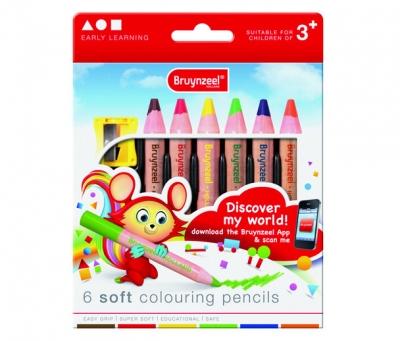 مداد شمعی با بدنه قطور6 رنگ برونزیل طرح جدید- 2205K06B