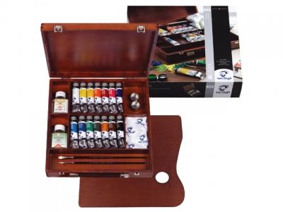 ست نیمه حرفه ای رنگ روغن ونگوگ- 14 رنگ جعبه چوبی