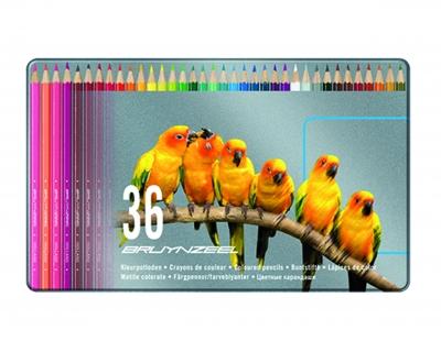 مداد رنگی 36رنگ نیمه حرفه ای جعبه فلزی برونزیل-7540M36