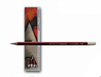 مداد HB پاک کن دار بدنه قرمزمشکی برونزیل- 1716KHB