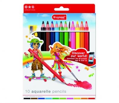 مداد رنگی جامبو 10 رنگ آبرنگی برونزیل طرح جدید- 3550K10B